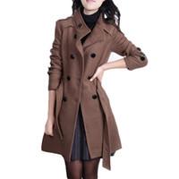 여성 트렌치 코트 여성 재킷 앰프 패션 겨울 따뜻한 긴 슬리브 버튼 재킷 코트 벨트 여성