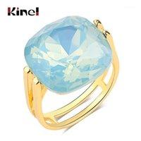 Kinel 2021 Moda Kare Mavi Opal Taş Alyans Kadınlar Için Altın Renk CZ Zirkon Yüzük Kadın Vintage Jewelry1