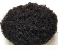 Herren Toupee Afro Hair Mens Perücke Mono mit PU-Basis-Jet Black Peruanisches Virgin Remy Human Hair Ersatz für Schwarze Männer