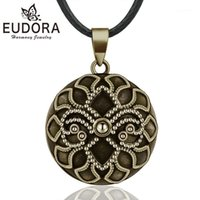 Eudora Harmony Ball Vintage Bronce Collar Chime Bola Fleur-de-Lis Colgante para Mujeres Joyería Fina Mexicana Bola de embarazo B3371