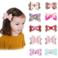 3. 5 Inch Girl Hair Bow Clips Sequins Barrette Hairbow Hairpi...