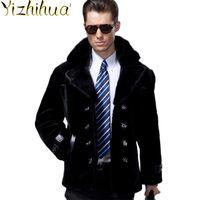 Couro dos homens Faux Azazel 200% Real casaco de pele homens homens natural shearling winter jaqueta homem colarinho sobretudo S25Z009 KJ862