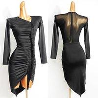Латинские платья для женщин Sexy длинных рукавов черного платья плиссированного Fringe танго Самба Одежда Латинскую Performance Dancewear VDB2647