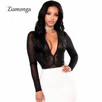 Ziamonga Sheer сетки Аппликация Кружево Sexy Bodysuit женщины V-образный вырез блестки Цветочного Элегантный Комбинезон Ползунки 2018 Осень Женщина Тощего Топ Y20040 L4jh #