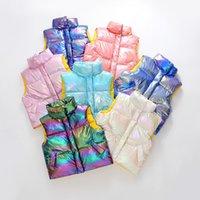 FocusNorm-Tie-Färbe-Baby-Mädchen-Jungen-Outfits 4-13Y Kinderkleidung Sleeveless Print Zipper Warme Jacke 201126