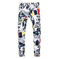 Yeni stil erkekler marka kot pamuk beyaz Letter baskılı tasarımcı Hip Hop kot erkekler yüksek kaliteli Denim pantolon Moda elastik jean