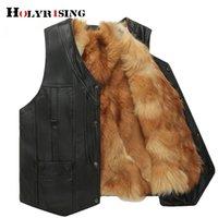 Hommes hiver gilet tactique masculino veste véritable veste de fourrure en cuir de fourrure de fourrure et manteau de mode chaude Gilet 19063-5 201119