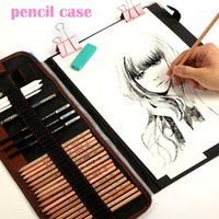 29 adet / takım Taşınabilir Açık Çizim Sanat Malzemeleri Kroki Kalemler Durumda Kömür Silgi Kesici Kiti Çanta Sanat Craft Çizim Araçları1