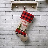 """크리스마스 스타킹 18 """"자수 리넨 버팔로 격자 무늬 레드 트럭 걸려 크리스마스 스타킹 크리스마스 장식 및 파티 액세서리 JK2010XB"""