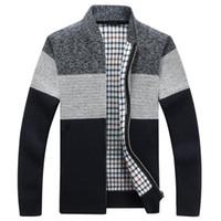 Winter Fashion Patchwork Mens gestrickte Jacken Thick bequeme Langarm-Strickjacke-Mantel-warme Stehkragen Fall Tide beiläufigen Strickjacke