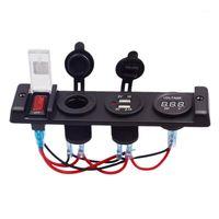 DC12V Автомобильный Прикуриватель Автомобильный Прикуриватель Четырехденс Центральный консоль Dual USB Зарядное устройство с прикуривателем вольтметра