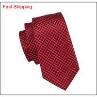 Kırmızı Ipek Kravatlar Toptan Erkekler Için Ekose Ve Çekleri Kravat Mendil Kol Düğmeleri Hediye Seti Düğün PA Qylzje HOMES2007