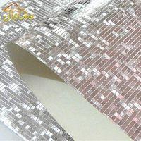 Toptan-Lüks Glitter Mozaik Duvar Kağıdı Arka Plan Duvar Duvar Kağıdı Altın Folyo Duvar Kağıdı Gümüş Tavan Wallcovering Papel de Parede1