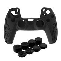 새로운 두꺼운 실리콘 케이스 피부 보호 커버 S-Ony PlayStation PS5 컨트롤러 용 미끄럼 방지 스킨 케이스 조이스틱 캡