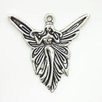 100ピースヴィンテージ天使フェアリーチャームペンダントのための宝石作りチベットシルバーメッキDIYハンドメイド37×38mmジュエリー作り