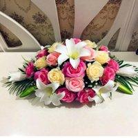 Dekoracyjne kwiaty wieńce 60/80 cm ślub tło łuku wystrój sztuczny róży kwiat impreza dostaw rzędowe stołowy biegacz ściana centralny