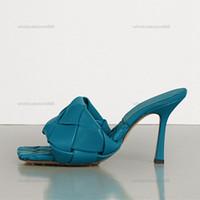 2021 الصيف أزياء المرأة الصنادل عالية الكعب 9 سنتيمتر الحياكة الصنادل الجلدية اللون مخصصة غير الانزلاق امرأة الأحذية