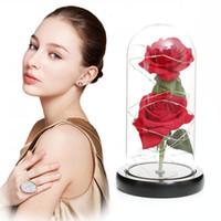 هدية عيد الحب محاكاة الذهب احباط روز بقيادة الإضاءة الجمال الأبدي الخالد روز غطاء زجاجي الاصطناعي زهرة DDA664