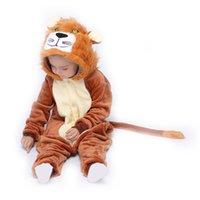 Djur lejon barn kigurumis onesie pyjamas kostym barn sovkläder homewear flannel knapp flicka pojke kläder fuuny party jumpsui 201104