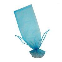 Present wrap abss-20pcs sheer organza vinpåsar 5.5x14.5 tum återanvändbar enkel flaska klänningar festlig förpackning baby shower bröllop favor