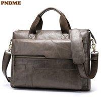 PNDME genuine leather men's briefcase casual simple cowhide messenger bags business vintage lawyer laptop shoulder work bag Q0112