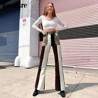 Womens 가을 streetwear 청바지 갈색 패치 워크 패널 포켓 높은 허리 플레어 바지 우아한 패션 여성 청바지
