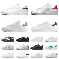 adidas Stan Smith Superstar Superstars das mulheres dos homens Casual Designer Shoes Triplo Preto Branco Rosa Prata Ouro marca de moda Homens treinadores desportivos Sneakers