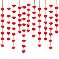 Corazón rojo colgando cuerda Guirnalda Fieltro Banner DIY Cortina Casa Boda Partido Día de San Valentín Decoración de cumpleaños JK2101XB