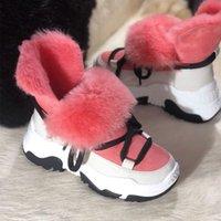 Bottes de neige en cuir véritable Bottes d'hiver Femmes Plaque de cheville Velvet Bottines antidérapantes Conserver la laine chaude Sneakers pour femmes T200104