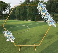 Puntales boda hexagonal Arco oro blanco Hierro Arco Plataforma contexto de la boda decoración de fiesta de la flor Etapa soporte forjado diamante Arche