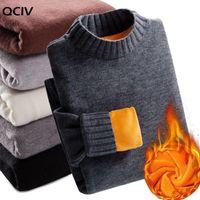Men's Sweaters Winter Super Warm Sweater Turtleneck Slim Soft Fleece Pullover Solid Knitted Plus Gold Velvet Thickening Men
