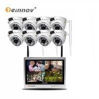 Einnov 8CH 2MP CCTV Set Sistema de Câmera de Segurança Sem Fio Video Vigilância IP Camera IP 12inch LCD NVR Kit Outdoor Dome IR Luz IR HD