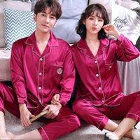 커플 잠옷 봄 가을 긴 소매 실크 새틴 잠옷 나이트웨어 잠옷 남자와 여자 일치 연인 라운지 잠옷 세트 Y0112