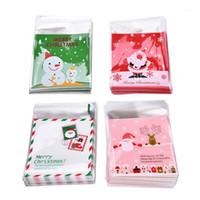 Decorações de Natal 100 pcs / set xmas auto-adesivo cookie embalagem sacos de plástico doces pacote biscoito saco de biscoito presentes BACS1
