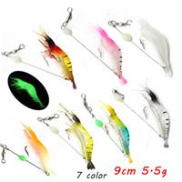 7 farbe 9 cm 5,5g leuchtende Garnelenhaken Angelhaken Fishhooks Weiche Köder locken Pesca Angelgerät LL-020