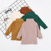 Dudu Ins İlkbahar Sonbahar Çocuk Kızlar Pamuk Boş Tişörtleri Çocuk Yüksek Boyun Pamuk Yumuşak Tops Tees Tasarımcı Ins Çocuk Erkek Giyim 536 K2