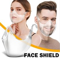 Newest Protective Face Shield Transparent PC Face Masks Anti-saliva Splash Dustproof Clear Reusable Washable Facial Mouth Cover LJJP689