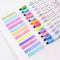 12 Renkler / Set Sevimli Japon Kırtasiye Süt Liner Çift Başlı Floresan Kalem Milkliner Fosforlu Kalem Çizim Marker Kalemler 201116