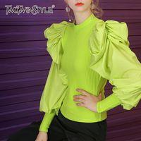 TWOTWINSTYLE malha Patchwork Camisolas para mulheres O Neck Puff luva Ruched Streetwear Pullovers Feminino Moda Outono Nova 201019