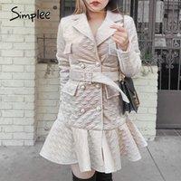 Simplee Elegant Diamond Pattern A-Line Женщины Зимнее платье V-образным вырезом Жемчугая Кнопка Reffled Платье Высокая улица Теплый Короткий