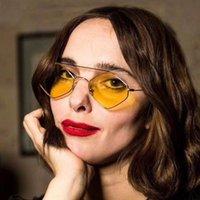 Yeni Moda küçük çerçeve bayan güneş gözlüğü moda çift kiriş metali çokgen çerçeve deniz lensler