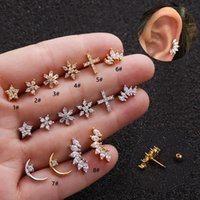 1Piece Unusual Piercing Stud Earrings Women Trend Jewelry Snowflake Romantic Zircon Earrings Gift Women