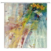 Astratto doccia tenda pittura a olio acquerello giallo fiore giallo ramo creativo graffiti pigmento bagno arredamento accessori tessuto1