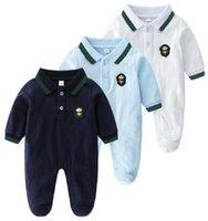 2021 Babykleidung Neugeborene Baby Strampler Infant Jungen Mädchen Langarm Langarm Retellkragen Romper Overall Kleidung Overalls für Kinder