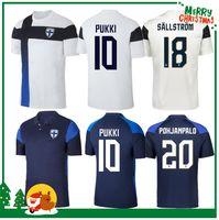 2020 Finlândia Jerseys de futebol New Pukki Skrabb Raitala Jensen Lod Home Branco Camisa de Futebol Curto Manga Adultas Uniformes