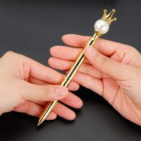 Creative Big Perle Tête Métal Stylo à bille en métal avec cristal Diamond Crown Student Papeterie Écriture Fournitures EEF4794