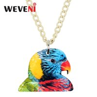Weveni acrylique coloré arc-en-ciel Loriketet perroquet collier pendentif chaîne de cou de cou de cou velours pour femme cadeau féminin 2021 nouveau