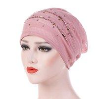2020 겨울 모자 여성 라인 석 인도 모자 무슬림 주름 암 항암 치료 비니 터번 랩 캡 여성 캐주얼 모자 1030