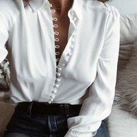 CROPKOP moda oficina de las señoras del color sólido de las tapas ocasionales Botones atractivas de manga larga para las mujeres blusa de la gasa nueva primavera camisa blanca 201014