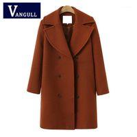 NOUVEAU hiver Vintage Femmes Longue Laine Coat Automne Femme Élégante Longues Vestes 4 Couleur Poche Faux Laine Manteaux chaudes Vangull 20181